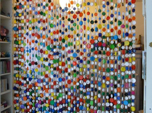 bottle tops curtain